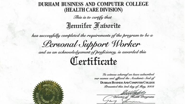Certificate of Achievement – Durham Business and Computer College