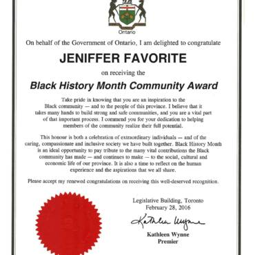 Certificate of Recognition – Government of Ontario Black History Month