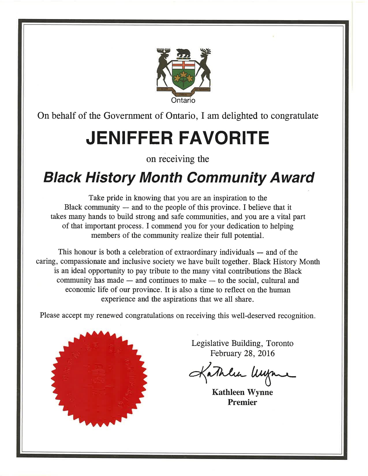Certificate Of Recognition Government Of Ontario Black History
