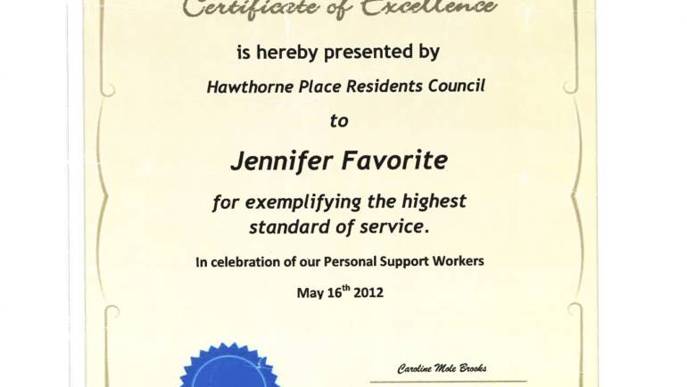 Certificate of Excellence – Hawthorne Place Residents Council