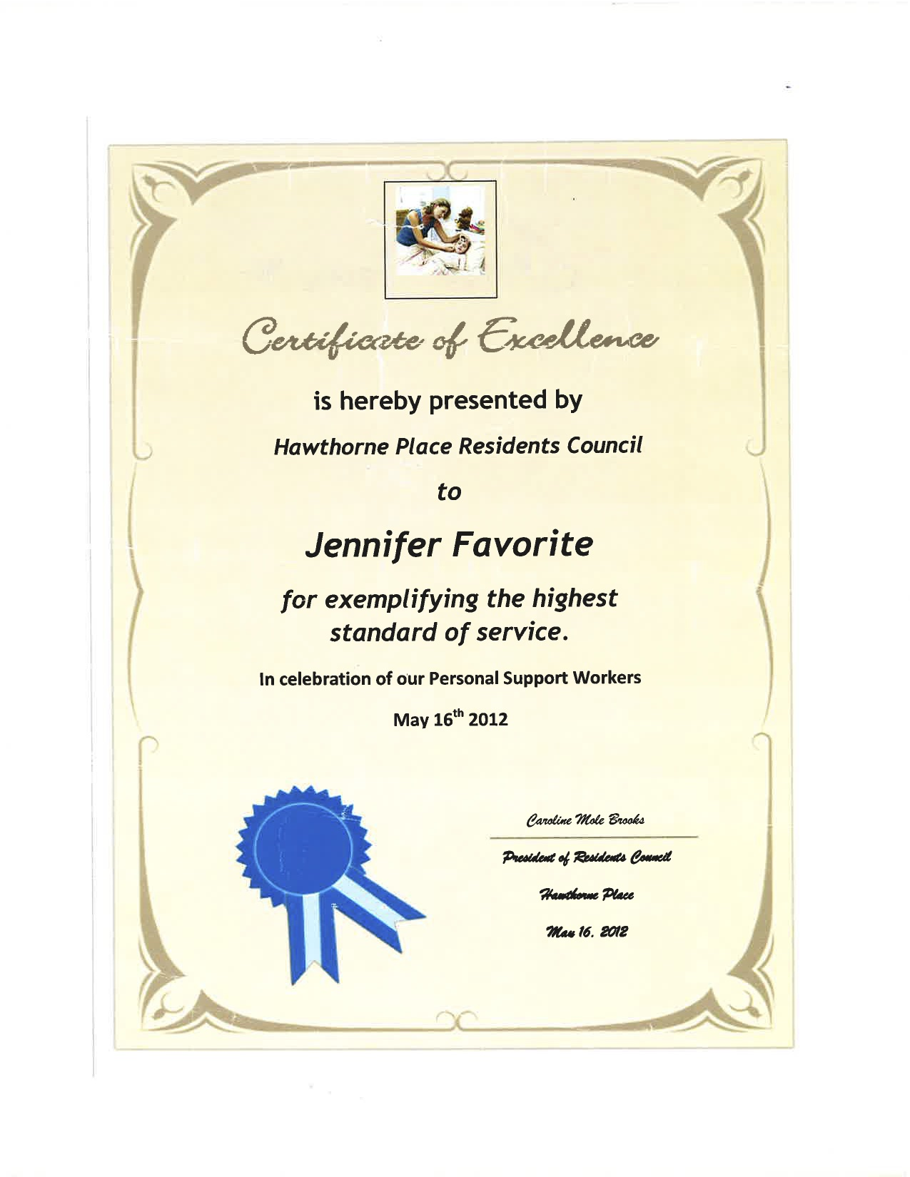 Certificate Of Excellence Hawthorne Place Residents Council