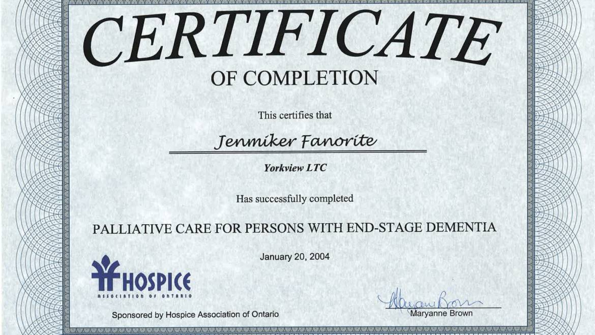 Certificate of Completion – Hospice Association of Ontario