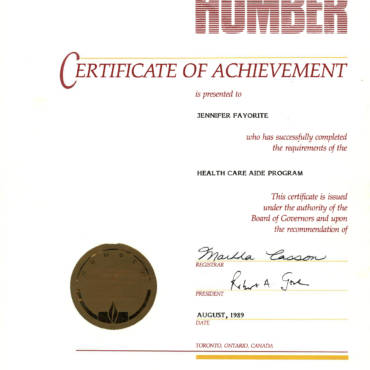 Certificate of Achievement – Humber College