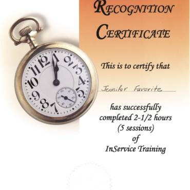 Certificate of Recognition – In Service Program