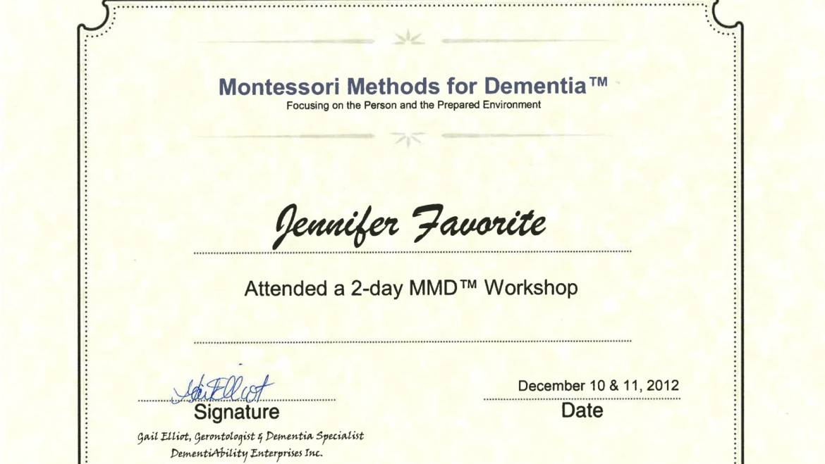 Certificate of Participation – Montessori Methods for Dementia
