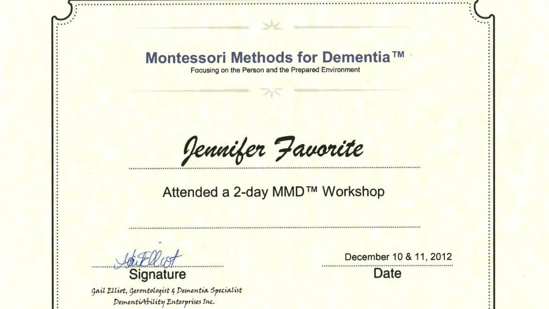 Certificate of Participation – Montessori Methods for Dementia