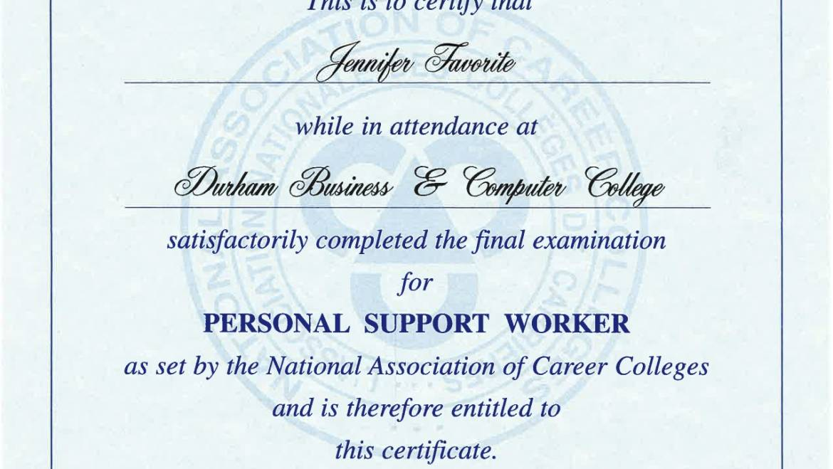 Certificate of Completion – National Association of Career Colleges