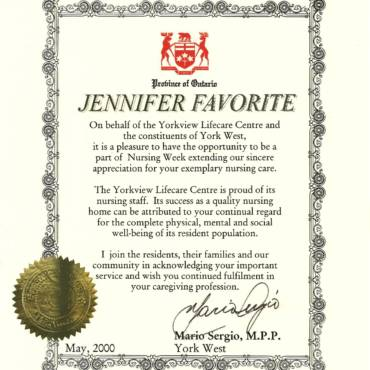 Certificate of Acknowledgement – Province of Ontario York West
