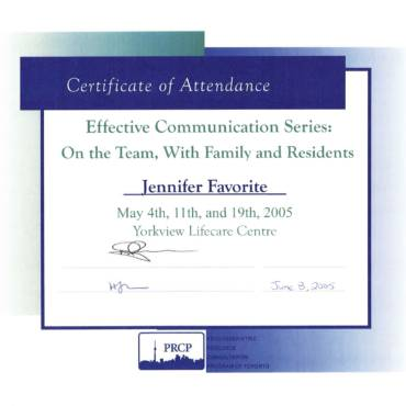 Certificate Of Attendance – Yorkview Lifecare Centre