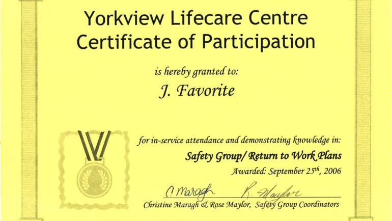Certificate Of Participation – Yorkview Lifecare Centre