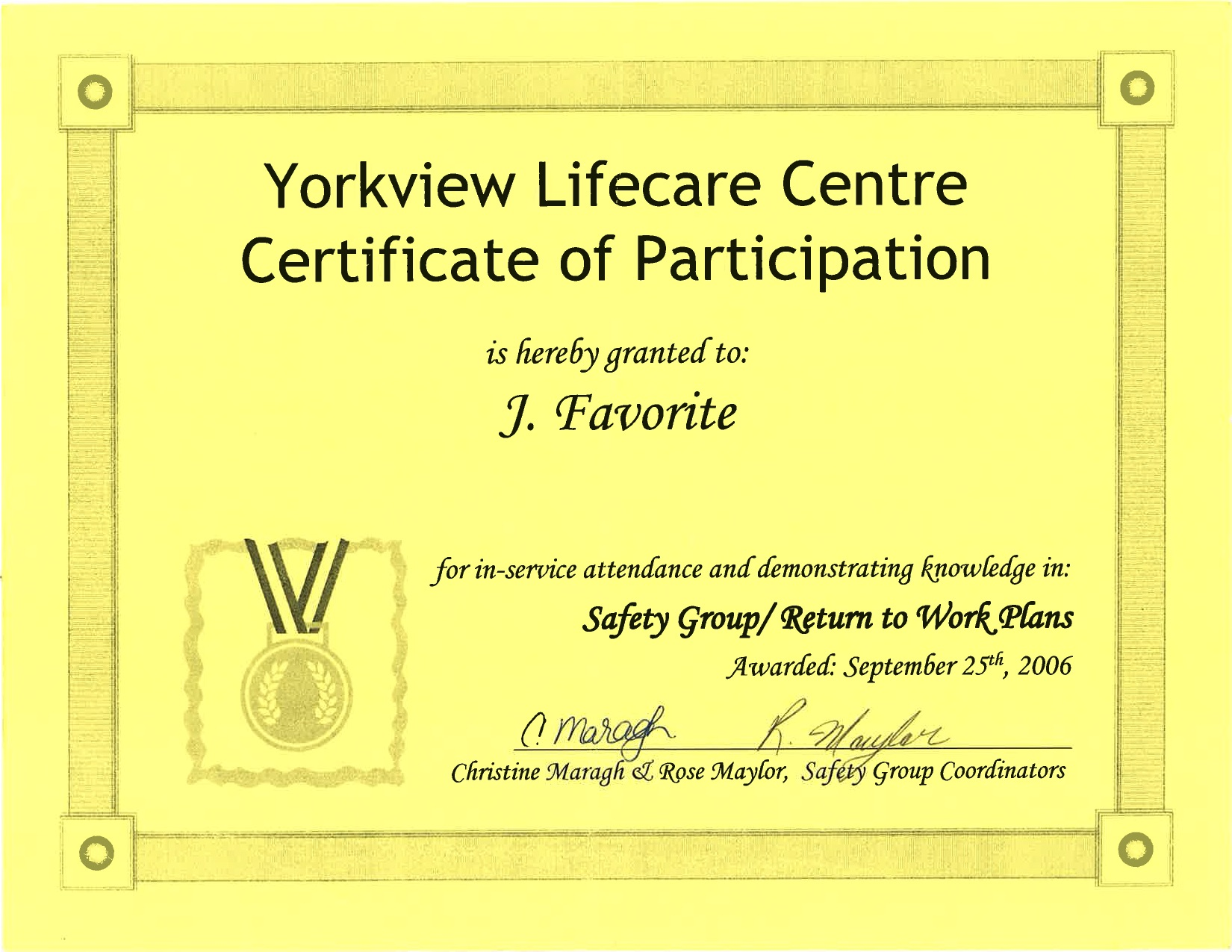 Certificate of recognition government of ontario black history certificate of participation yorkview lifecare centre 1betcityfo Images